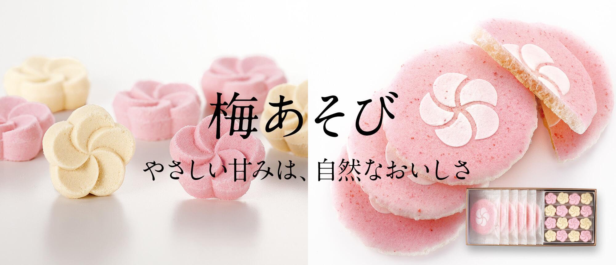 梅の御菓子「梅あそび」 (梅文様×6枚・和三盆×16個入)