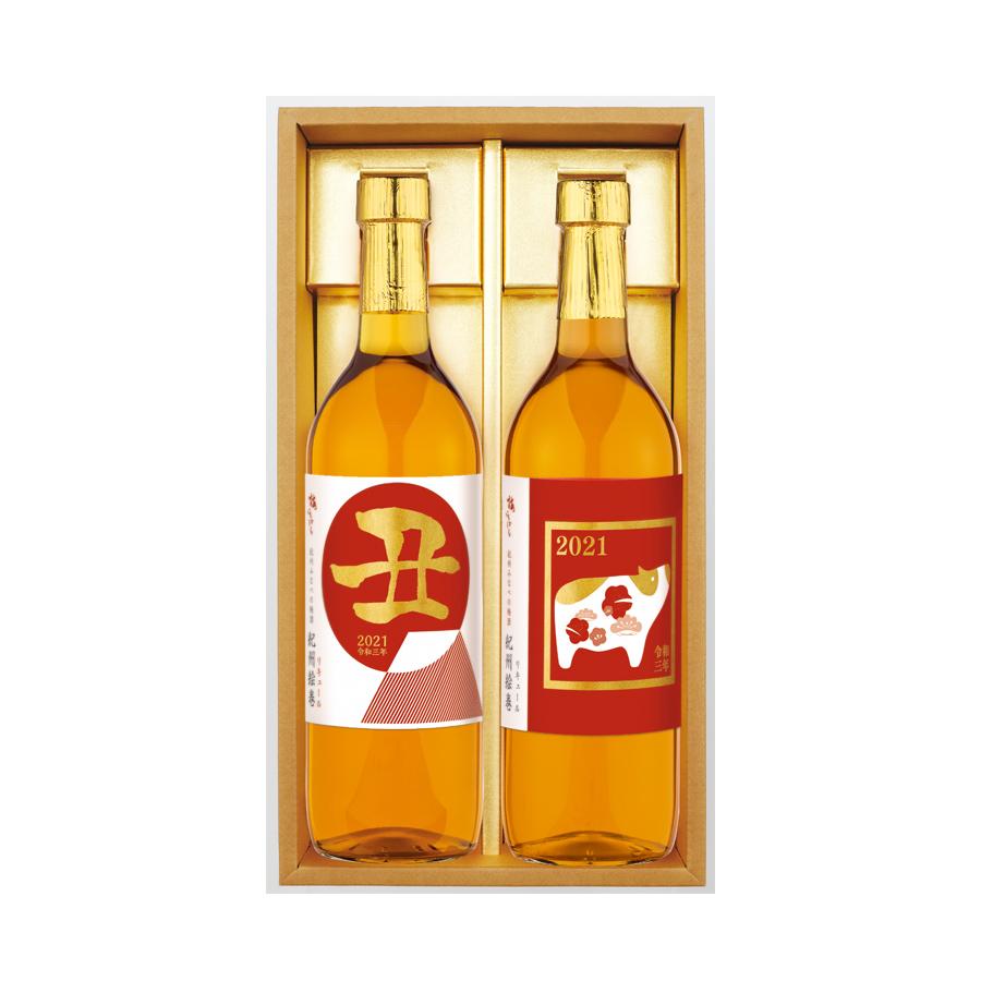 【干支ラベル】梅酒2021年ラベル 紀州絵巻セット[丑・招福丑] 720ml 各1本ずつ
